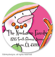 Pinky dot snowman large round stickers or labels 2.5