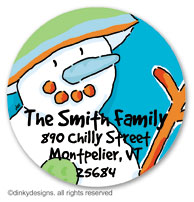 Blue man snowman large round stickers or labels 2.5