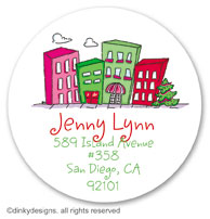 Urban living - holiday large round stickers or labels 2.5