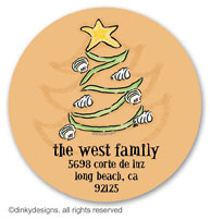 Christmas is a beach large round stickers or labels 2.5