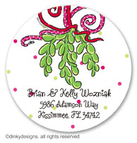 Mistletoe Christmas kisses large round stickers or labels 2.5