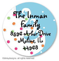 Blue - white Christmas large round stickers or labels 2.5