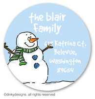 Smiling snowman large round stickers or labels 2.5