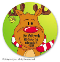Bruce Reindeer large round stickers or labels 2.5
