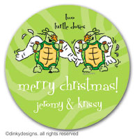 Two turtle doves large round stickers or labels 2.5