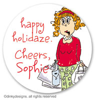 Holi-daze large round stickers or labels 2.5