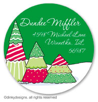 Christmas tree row large round stickers or labels 2.5