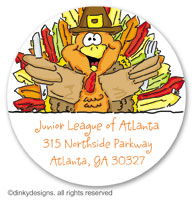 Thomas Turkey large round stickers or labels 2.5