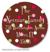 Pink berry holly large round stickers or labels 2.5