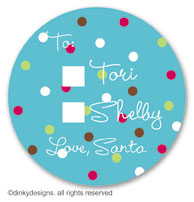 Blue cranberry polka dots large round stickers or labels 2.5