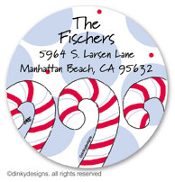 Dandy candy canes large round stickers or labels 2.5