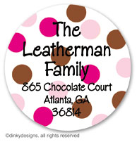 Chocolate and pink dots large round stickers or labels 2.5