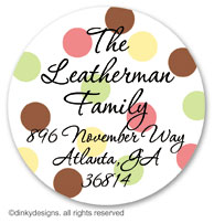 November polka dots large round stickers or labels 2.5