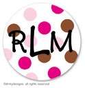 Chocolate and pink dots small round stickersor labels 1.6'', personalized