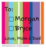 Seasonal stripes gift tags or insert cards, personalized by Dinky Designs
