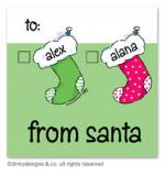 Stocking family Christmas gift tags or insert cards, personalized by Dinky Designs
