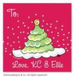 Scallop-style Christmas tree gift tags or insert cards, personalized by Dinky Designs