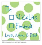 Lime holiday dots gift tags or insert cards, personalized by Dinky Designs