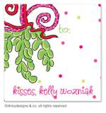 Mistletoe Christmas kisses gift tags or insert cards, personalized by Dinky Designs