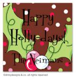 Pink berry holly gift tags or insert cards, personalized by Dinky Designs