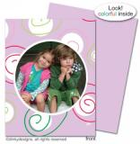 Curly swirly dots - lilac folded holiday greeting cards or notes, personalized with digitally printed photos by Dinky Designs
