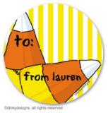 Candy corns large round stickers or labels 2.5, personalized by Dinky Designs