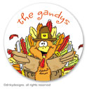 Thomas Turkey small round stickersor labels 1.6, personalized by Dinky Designs