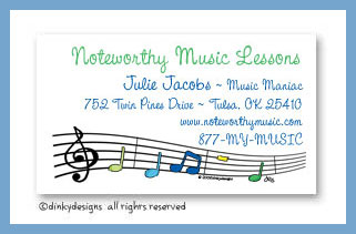 Party tunes calling cards, personalized