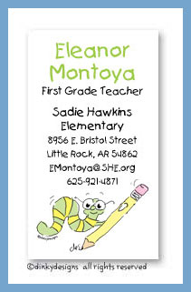 Worm with pencil calling cards, personalized