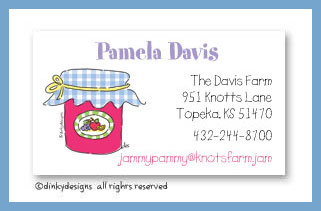 Jar of jam calling cards, personalized
