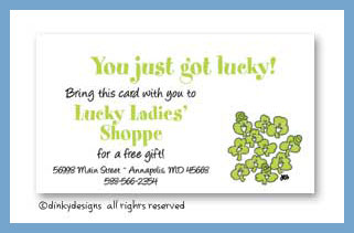 Smiling' shamrocks calling cards, personalized