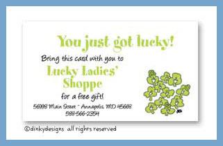 Smiling' shamrocks calling cards, personalized