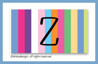 Multi-stripes calling cards on pre-printed cardstock, personalized