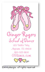 Ballet slippers calling cards, personalized
