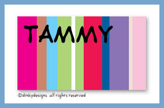 Seasonal stripes calling cards on pre-printed cardstock, personalized