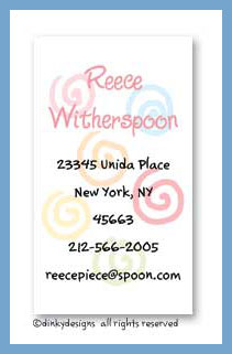 Swirlies in colors calling cards, personalized