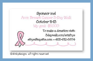 Breast cancer supporter calling cards, personalized