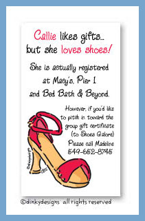 Strappy sandal calling cards, personalized