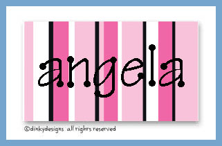 Magenta and black calling cards on pre-printed cardstock, personalized