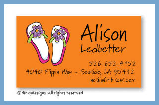 Flippin' flops calling cards on pre-printed cardstock, personalized