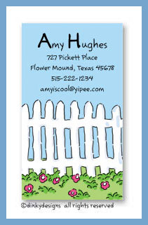 Picket pasture calling cards on pre-printed cardstock, personalized