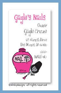Razzmatazz nails calling cards, personalized