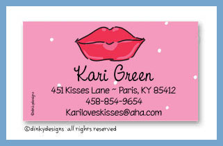 Dolly kisses calling cards on pre-printed cardstock, personalized