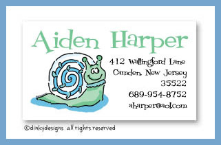 Sammy snail calling cards, personalized