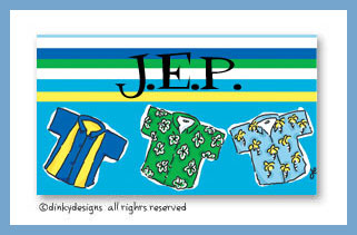 Beach bum calling cards on pre-printed cardstock, personalized