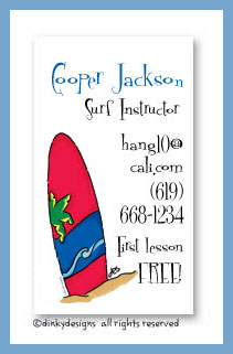 Woody surf calling cards, personalized