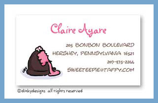 Chocolate truffle pink calling cards, personalized