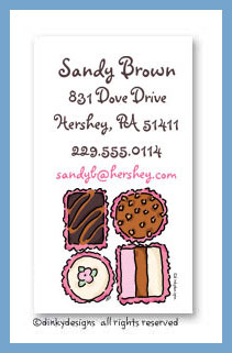 Chocolates calling cards, personalized