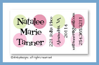 Pink-a-boo dots calling cards, personalized