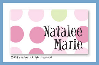 Pink-a-boo calling cards on pre-printed cardstock, personalized